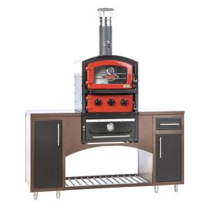 Fornetto Alto Series Built-In Wood Fired Brick Oven Grill and Smoker in Red by Fornetto