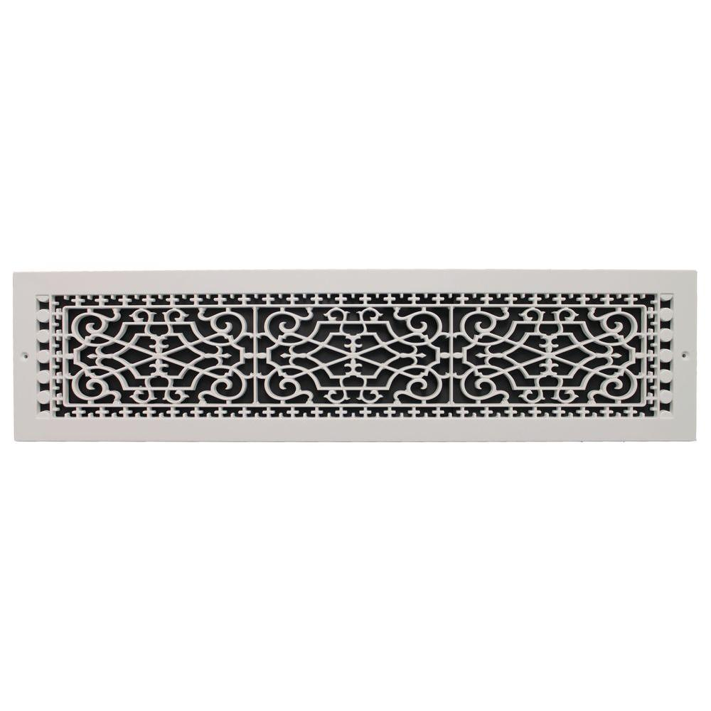 SMI Ventilation Products Victorian Base Board 30 in. x 6 in. Opening, 8 in. x 32 in. Overall Size, Polymer Decorative Return Air Grille, White