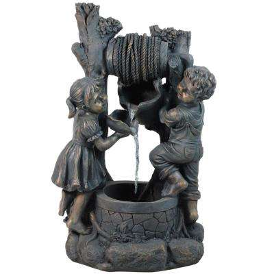 30 in. Children at the Well Outdoor Patio Garden Water Fountain