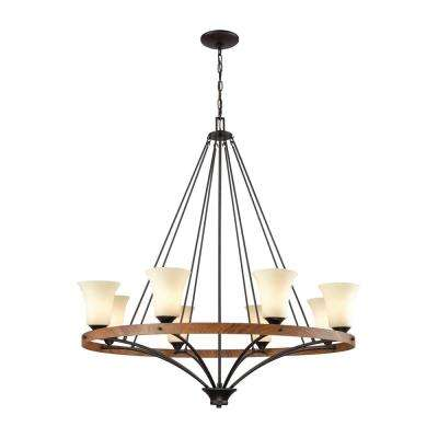 Park City 8-Light Oil Rubbed Bronze and Wood Grain Chandelier With Light Beige Scavo Glass Shades