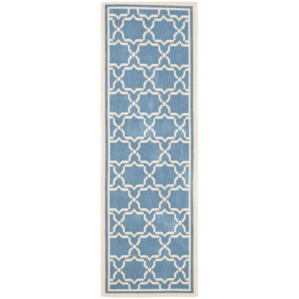 Courtyard Blue/Beige 2 ft. 4 in. x 12 ft. Indoor/Outdoor Runner