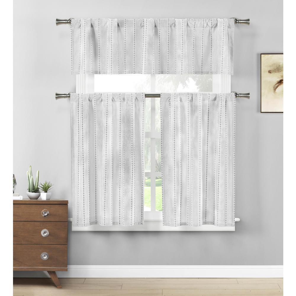 Kylie Grey-White Kitchen Curtain Set - 58 in. W x 15 in. L in (3-Piece)