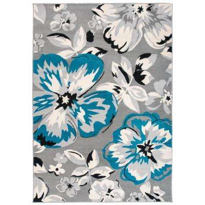 Modern Contemporary Floral Design Blue 5 ft. x 7 ft. Indoor Area Rug