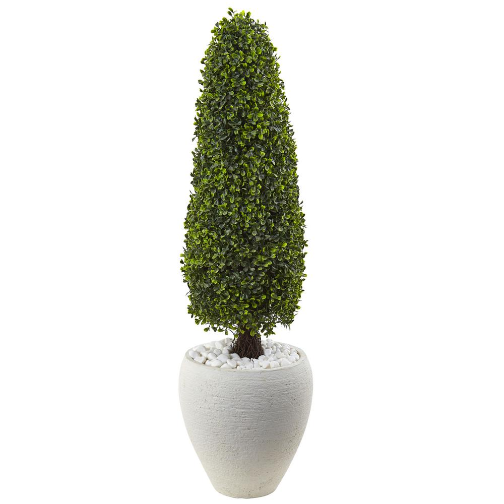 Nearly Natural Boxwood Topiary with Textured White Plante...