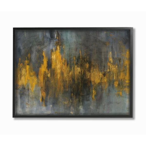 11 In X 14 In Black And Gold Abstract Fire By Danhui Nai Wood Framed Wall Art