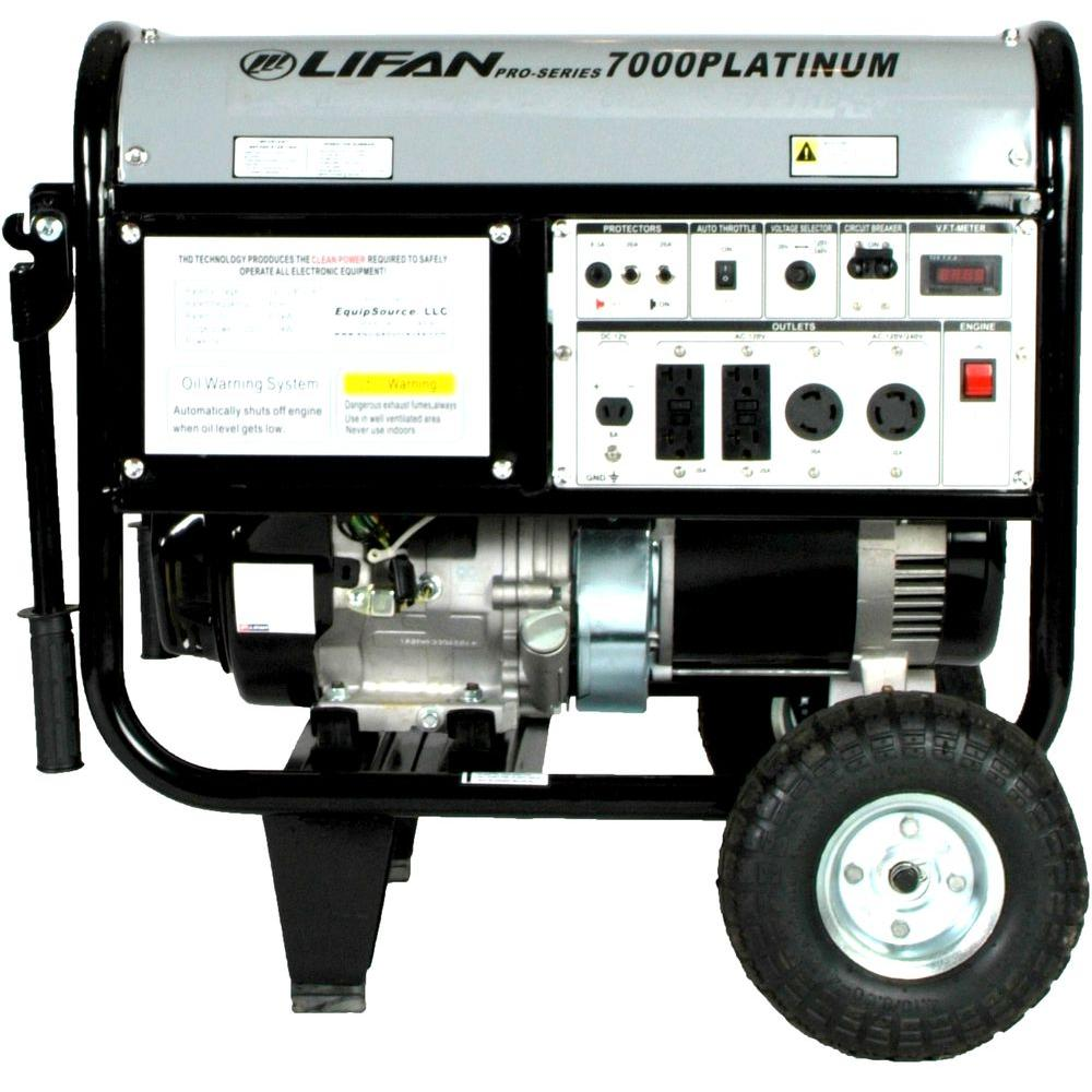LIFAN Platinum Series 7,000-Watt 389cc Gasoline Powered Generator, Clean Power