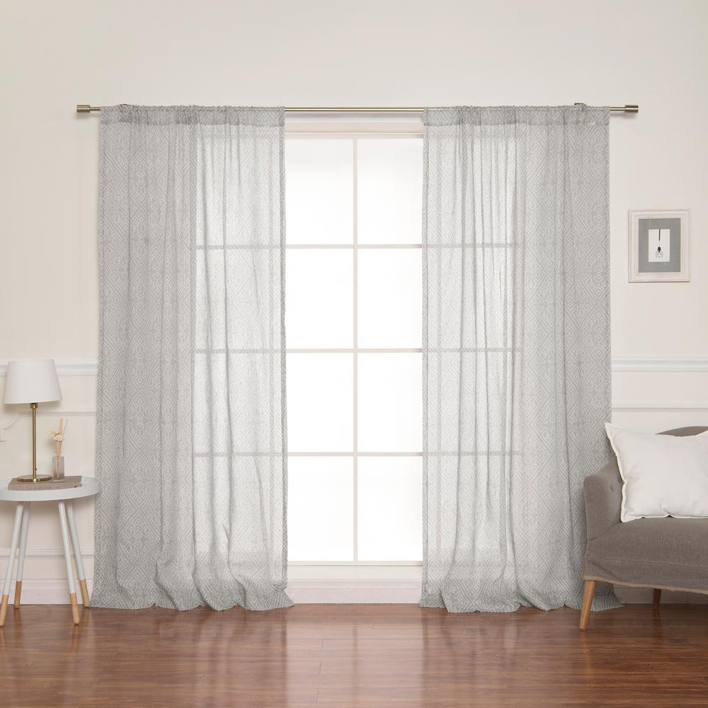 84 in. L Diamond Confetti Curtains in Grey (2-Pack)