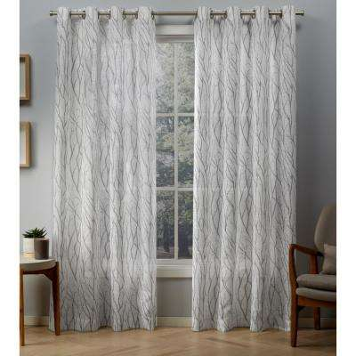 Oakdale 54 in. W x 84 in. L Sheer Grommet Top Curtain Panel in Silver (2 Panels)