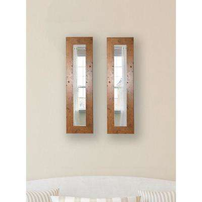 9.5 in. x 35.5 in. Rustic Light Walnut Vanity Mirror (Set of 2-Panels)
