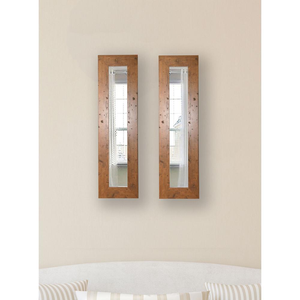 15.5 in. x 29.5 in. Rustic Light Walnut Vanity Mirror (Set of 2-Panels)