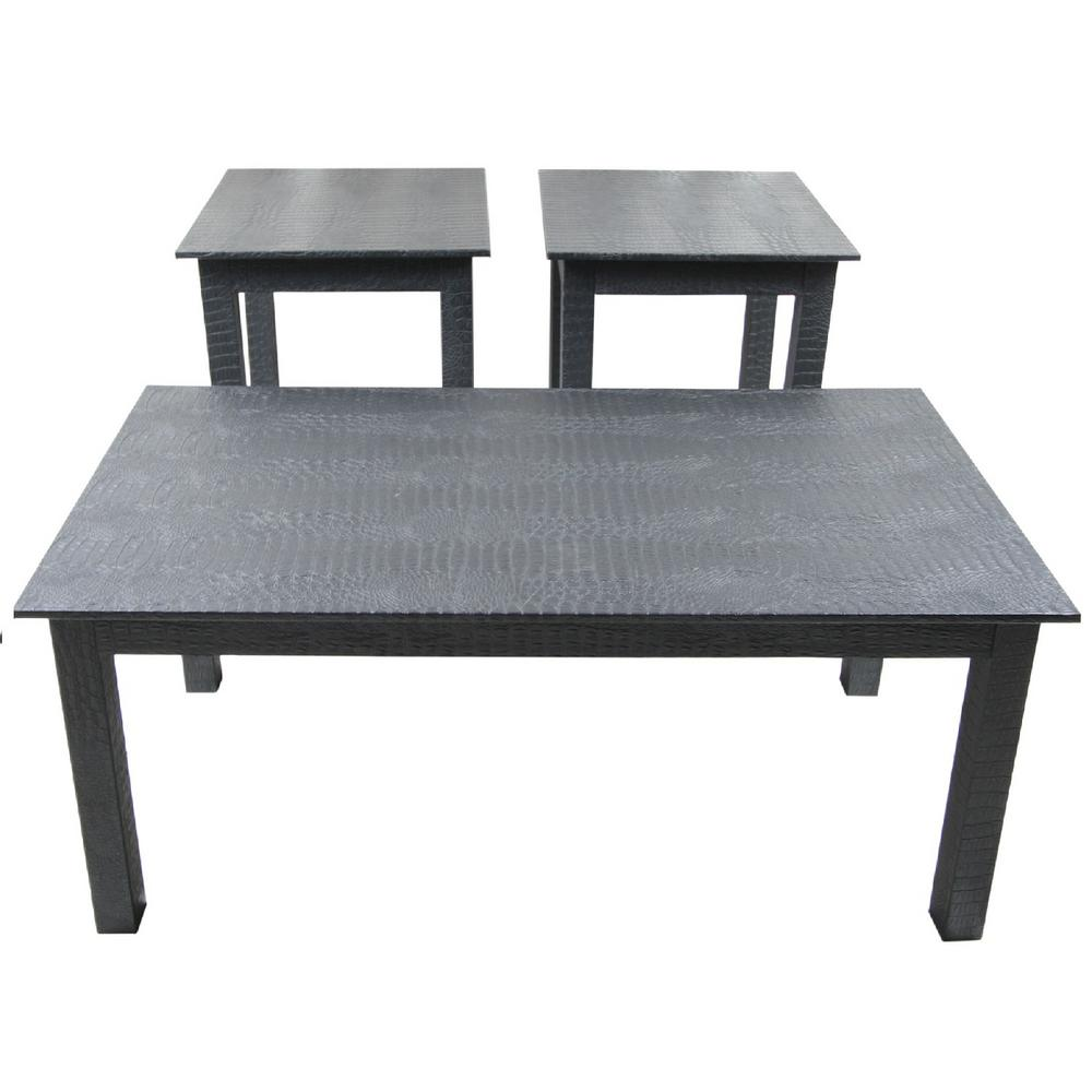 Instant Mosaic Upscale Designs Patterned Black End Table Set Of 3 50110 The Home Depot