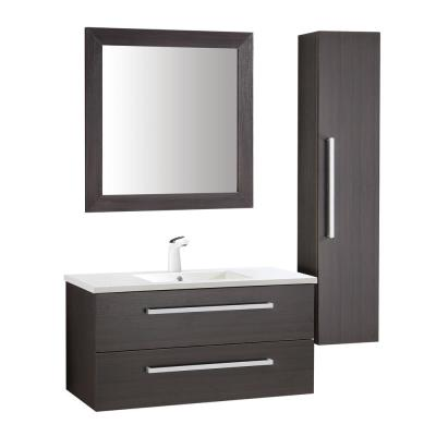 Conques 39 in. W x 20 in. H Bath Vanity in Rich Umber with Ceramic Vanity Top in White with White Basin and Mirror
