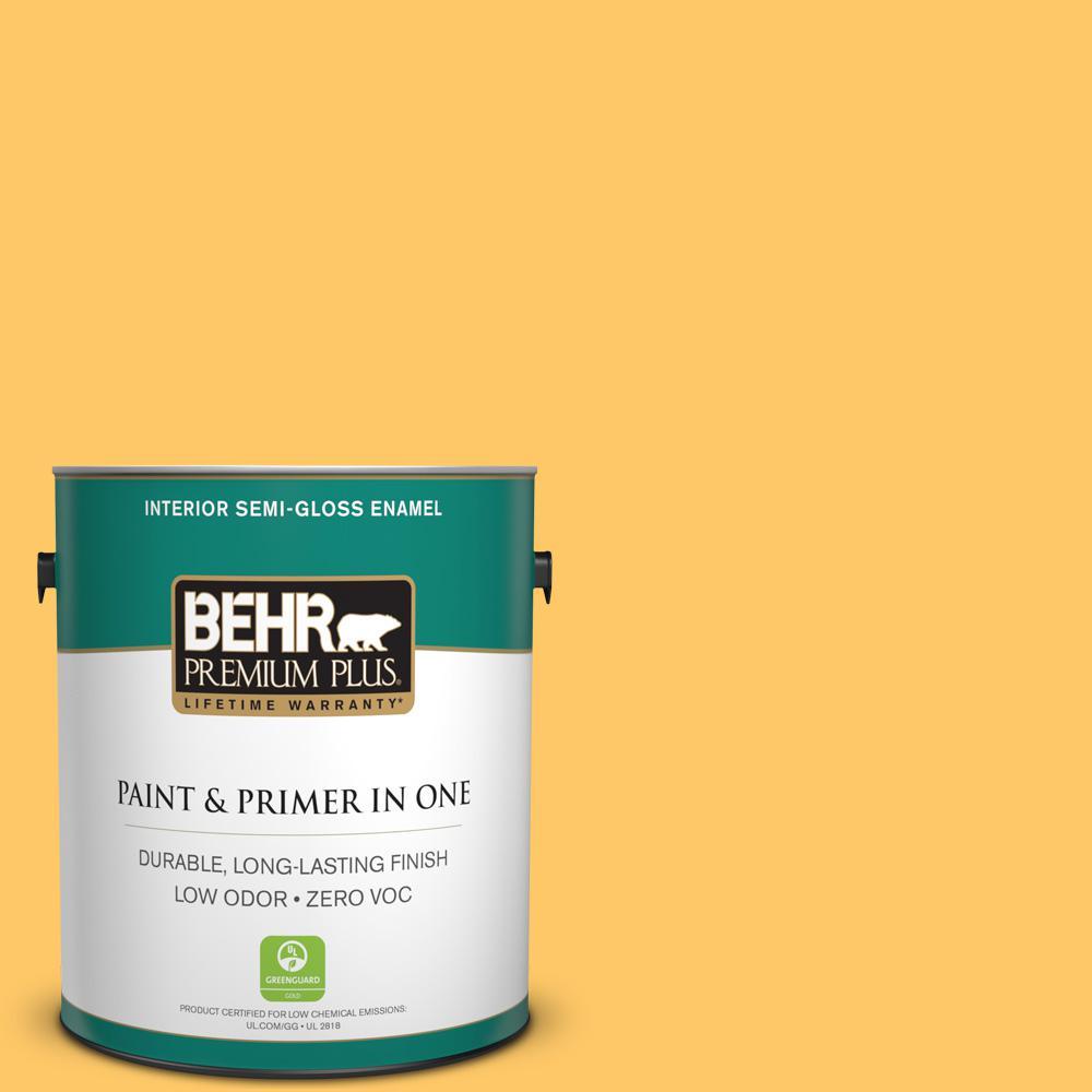 1 gal. #HDC-SP16-05 Daffodil Zero VOC Semi-Gloss Enamel Interior Paint