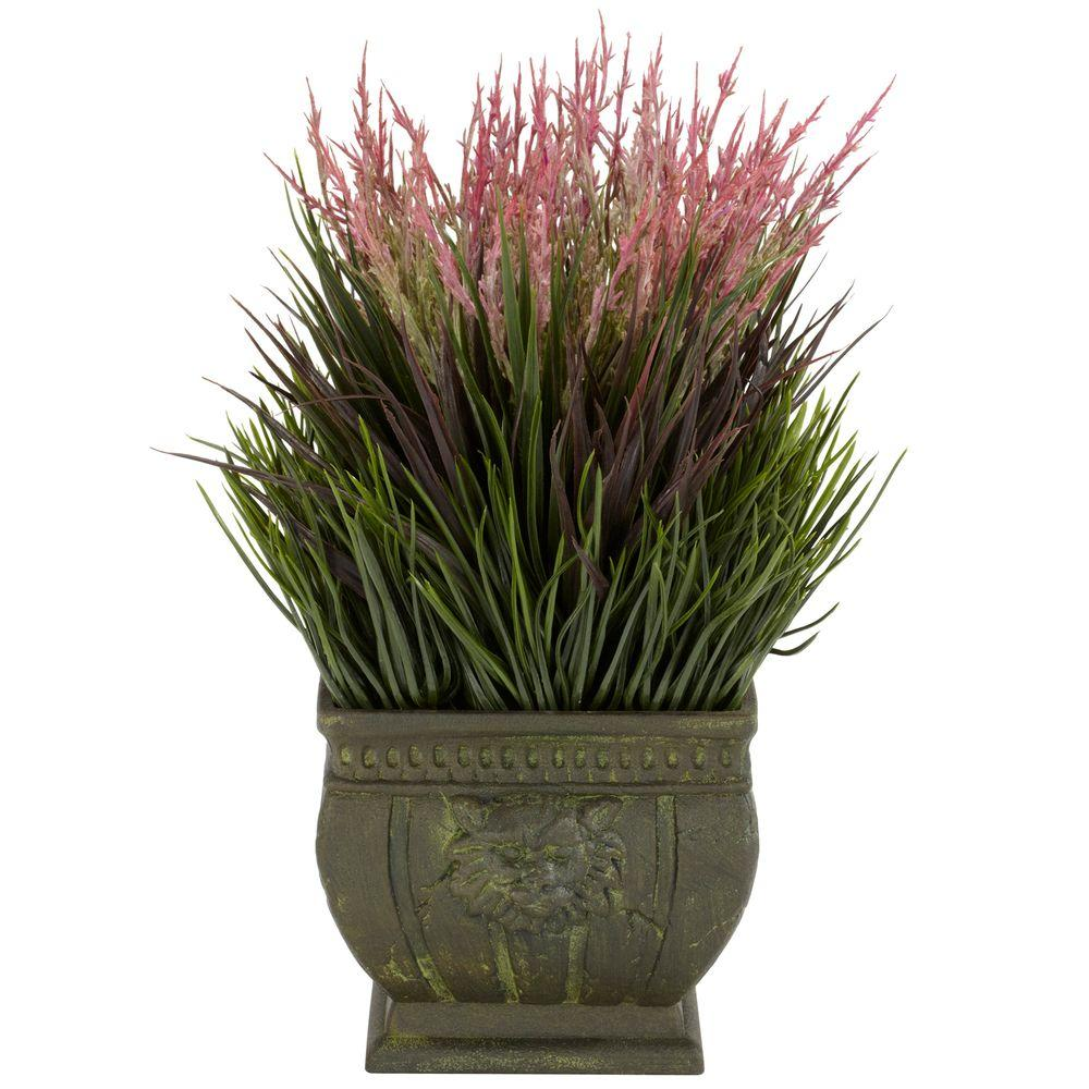 13 in. H Green Mixed Grass Silk Plant (Indoor/Outdoor)