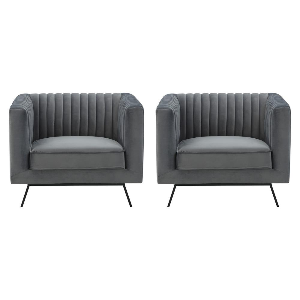 Vandam Charcoal Grey Velvet Armchairs (Set of 2)
