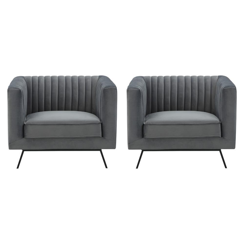 Manhattan Comfort Vandam Charcoal Grey Velvet Armchairs (Set of 2)