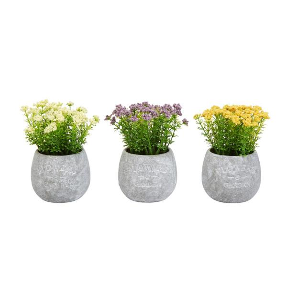 6.25 in. Assorted Faux Flower Arrangements (Set of 3)