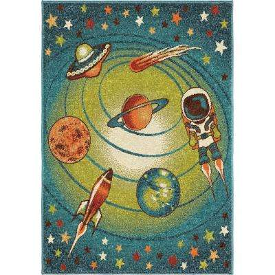 Spacewalk Blue 5 ft. x 8 ft. Indoor Area Rug