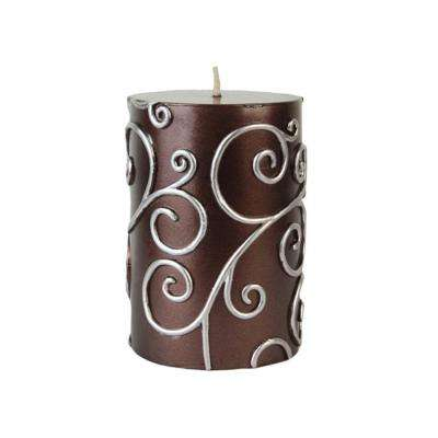 3 in. x 4 in. Brown Scroll Pillar Candle Bulk (12-Case)