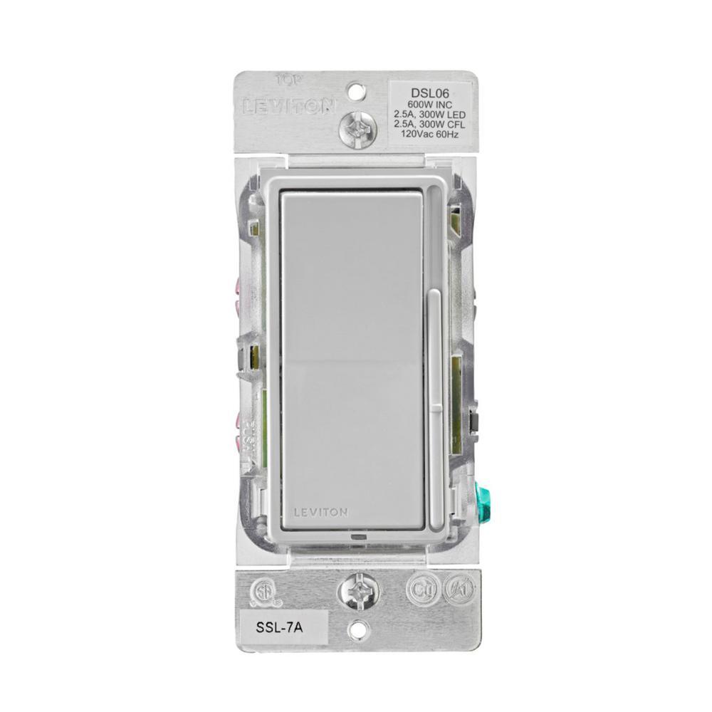 Decora 300-Watt Slide Single Pole LED 600-Watt Incandescent/Halogen Dimmer , Light Gray