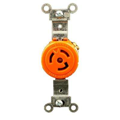 15 Amp 125-Volt Single Isolated Ground Locking Outlet, Orange