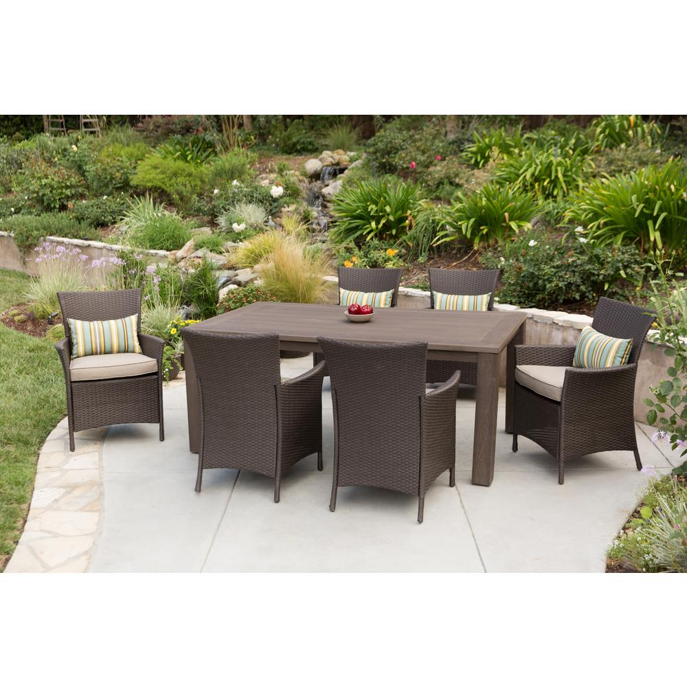 Premium 7 piece wicker outdoor dining set beige cushions for Outdoor patio dining