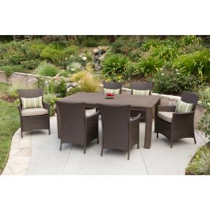 Hampton Bay Tacana 7-Piece Wicker Outdoor Dining Set with Beige Cushions by Hampton Bay