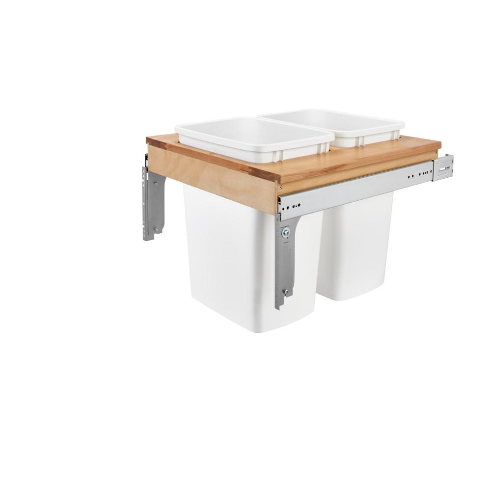 Rev-A-Shelf 17.875 in. H x 21 in. W x 22.75 in. D Double 35 Qt. Pull-Out Top Mount Wood and White Container for 1-5/8 in. Face Frame