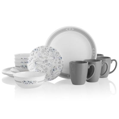 Classic 16-Piece Prairie Garden Gray Glass Dinnerware Set