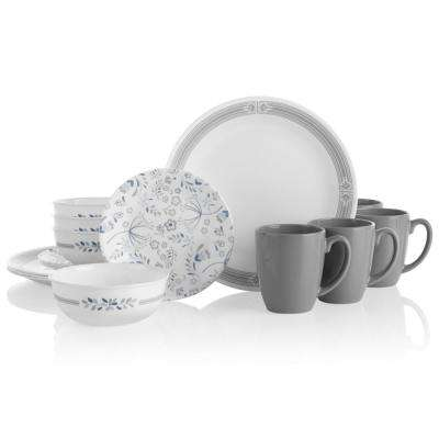 Classic 16-Piece Casual Prairie Garden Gray Glass Dinnerware Set (Service for 4)