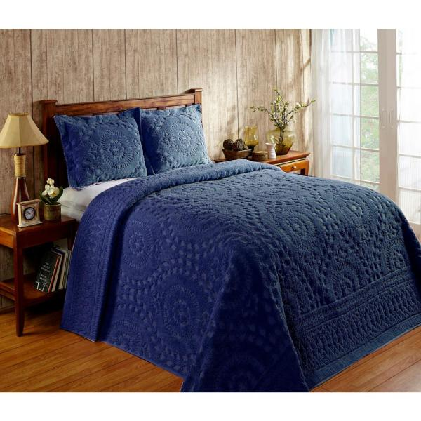 Rio Collection in Floral Design Navy Queen 100% Cotton Tufted Chenille Bedspread