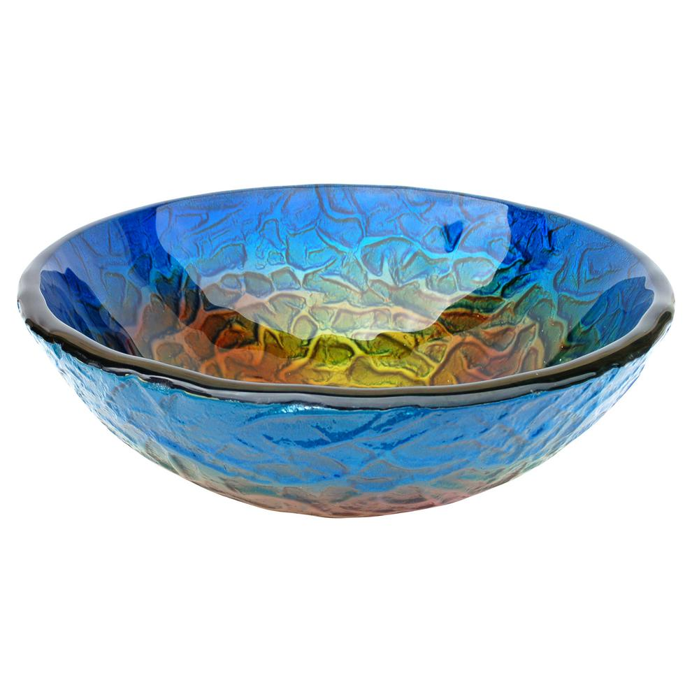 True Planet Glass Vessel Sink in Multi Colors with Pop-Up Drain