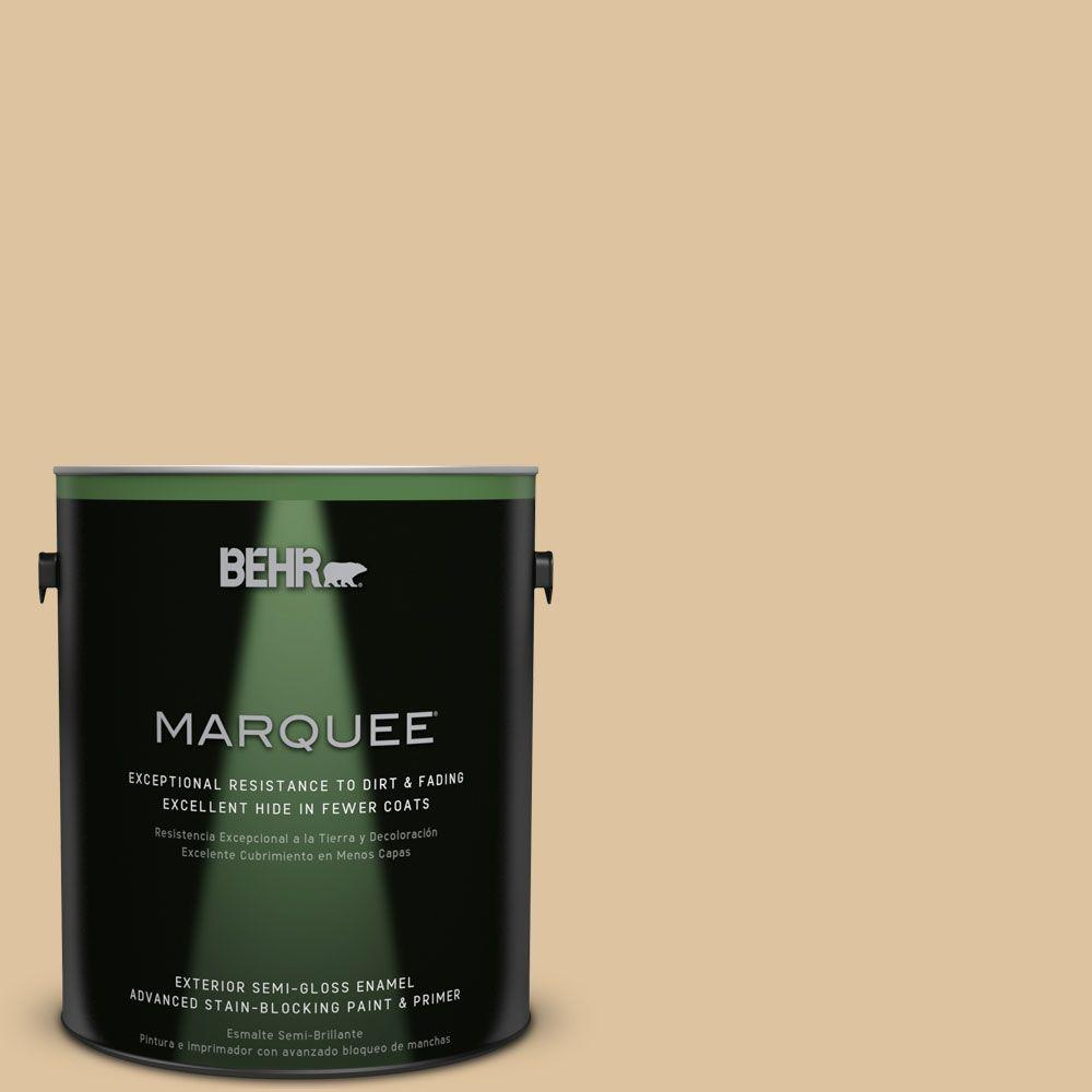 BEHR MARQUEE 1-gal. #S300-3 Almond Cookie Semi-Gloss Enamel Exterior Paint