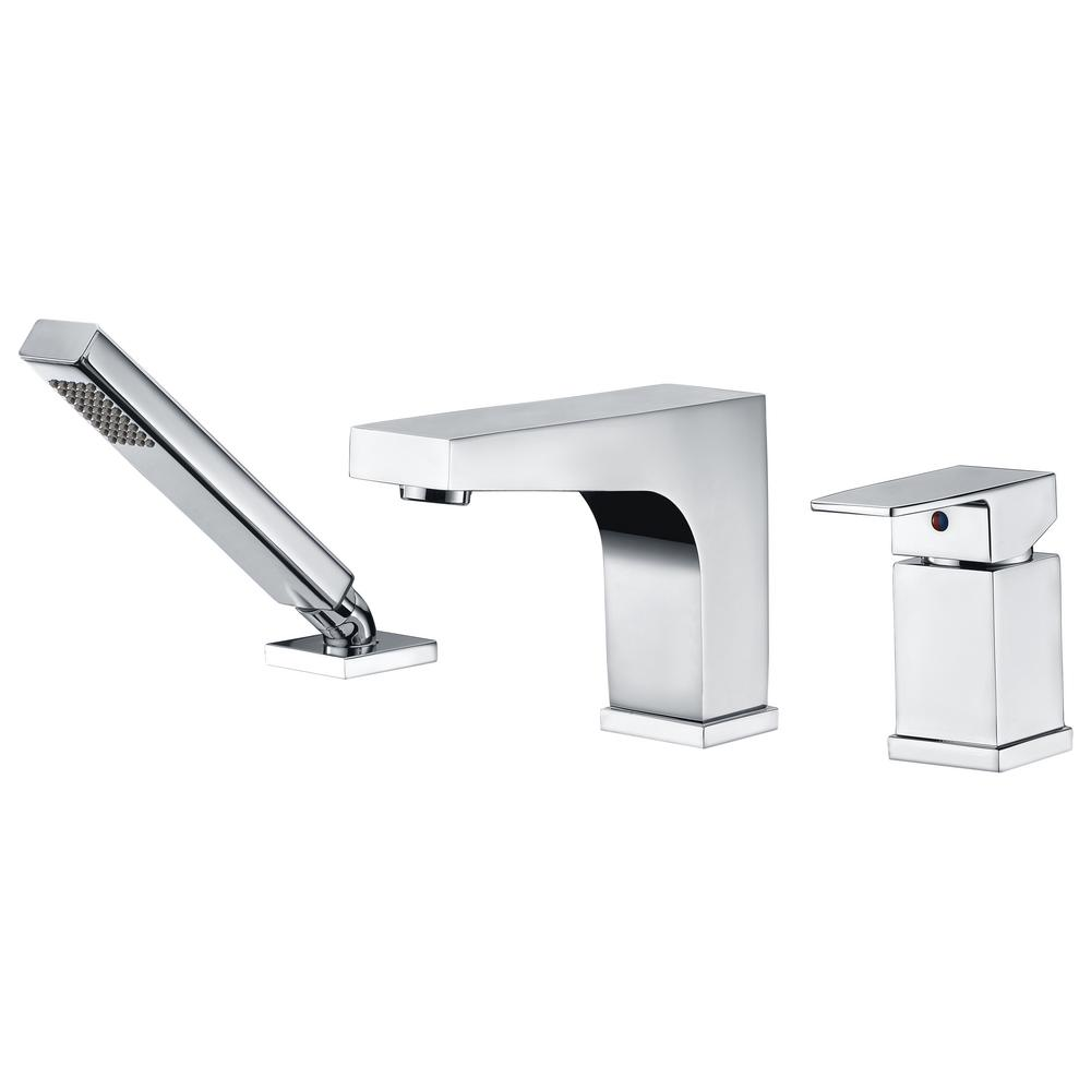 Fyne Series Single-Handle Deck-Mount Roman Tub Faucet with Handheld Sprayer in