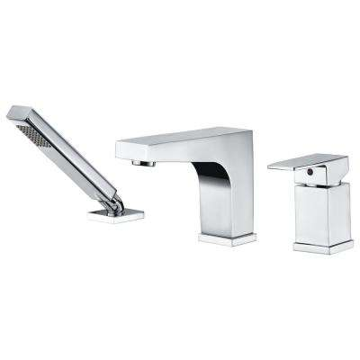 Fyne Series Single-Handle Deck-Mount Roman Tub Faucet with Handheld Sprayer in Polished Chrome