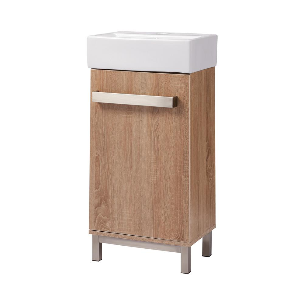 Home Decorators Collection Maelynn 18 in  W x 12 in  D Bath Vanity in Taupe  with Vitreous China Vanity Top in White