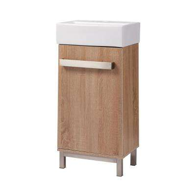 Maelynn 18 in. W x 12 in. D Bath Vanity in Taupe with Vitreous China Vanity Top in White