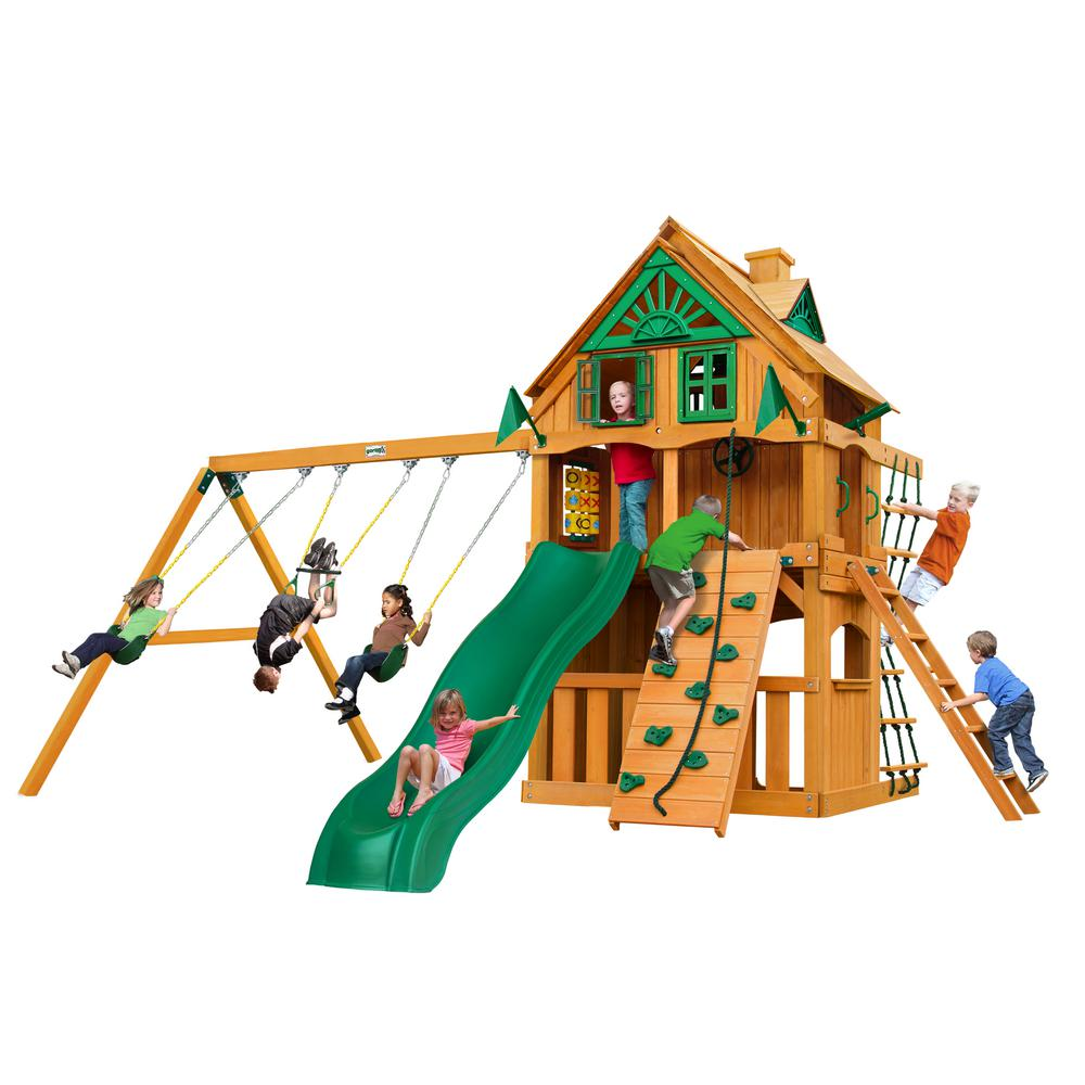 Gorilla Playsets Chateau Clubhouse Treehouse Wooden Playset with Fort Add-On and Rock Wall