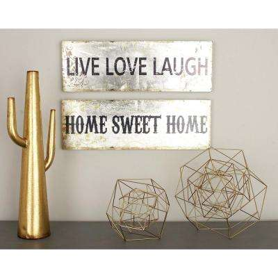 24 in. x 8 in. Distressed Whitewash Wood Live Love Laugh and Home Sweet Home Wall Panel (2-Pack)