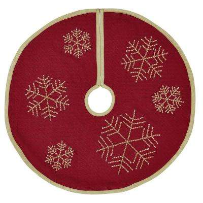 21 in. Revelry Brick Red Traditional Christmas Decor Mini Tree Skirt