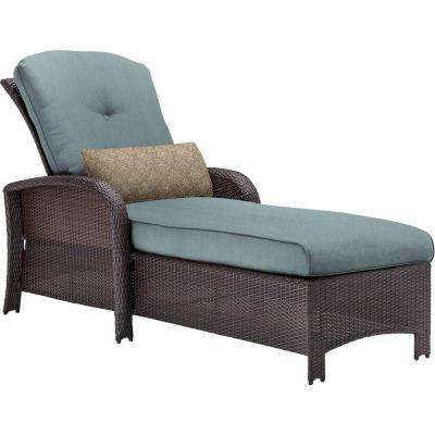 Strathmere All-Weather Wicker Outdoor Patio Chaise Lounge Chair with Ocean Blue Cushion