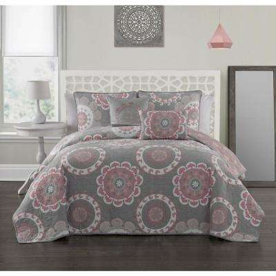 Elsa 5-Piece Coral Queen Quilt Set