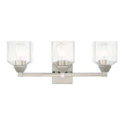Aragon 4.75 in. 3-Light Brushed Nickel Vanity Light with Clear Seeded Glass