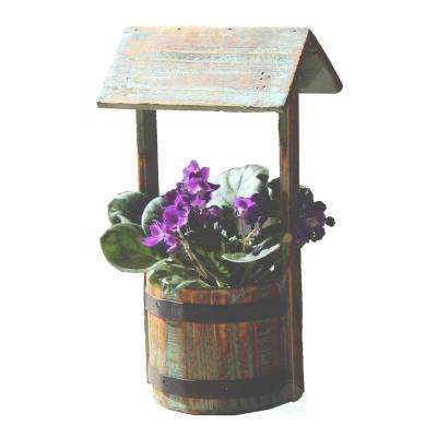6.3 in. W x 4.8 in. D x 6 in. H Wood Small Well Planter