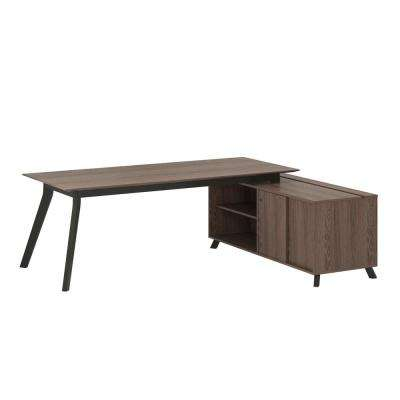 AX1 L-Shape Medium Brown Desk, Mobile File and Storage Cabinet Bundle