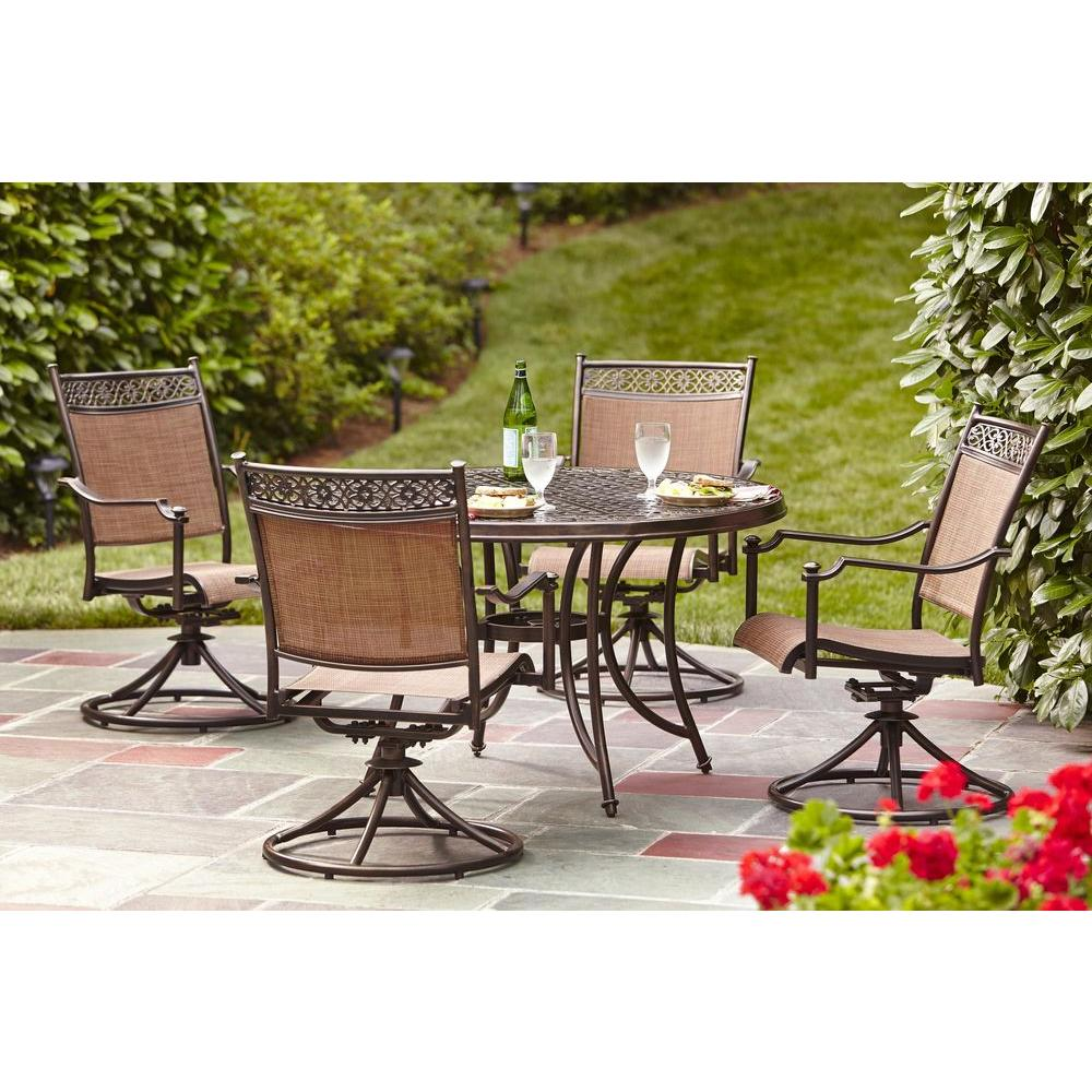 Hampton bay niles park 5 piece sling patio dining set s5 for Home design 6 piece patio set