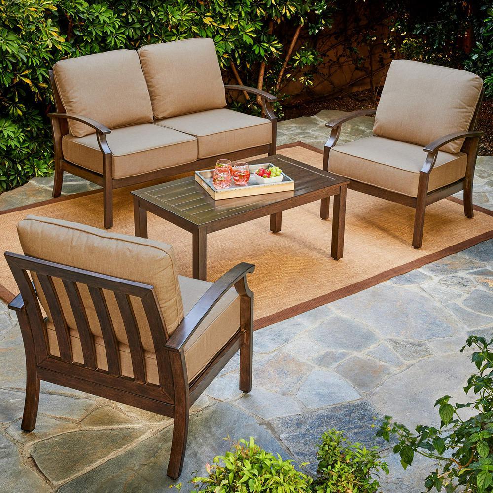 Exceptionnel Royal Garden Bridgeport 4 Piece Metal Patio Conversation Set With Tan  Cushions