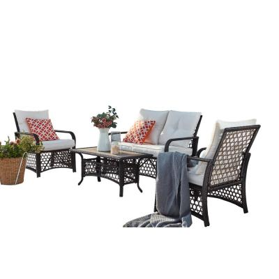 Brown 4-Piece Wicker Patio Conversation Set with Beige Cushions
