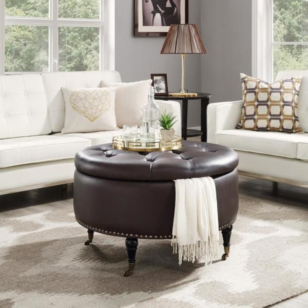Inspired Home Renata Espresso/Gold PU Leather Tufted Nailhead Trim Round