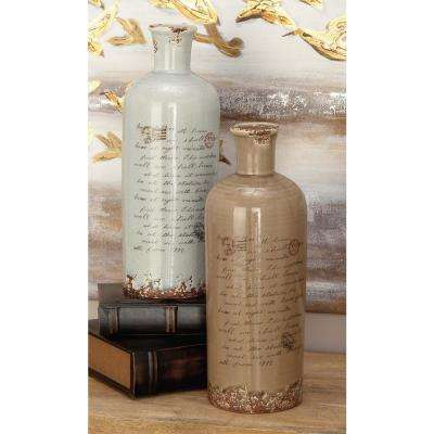 13 in. Whimsical Inscription Distressed Taupe and White Spouted Ceramic Decorative Vases (Set of 2)